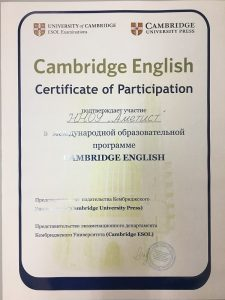 Школа Аметист Кэмбридж сертификат